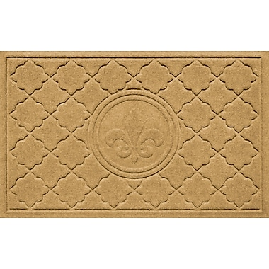 Bungalow Flooring Aqua Shield Bombay Fleur de Lis Doormat; Gold