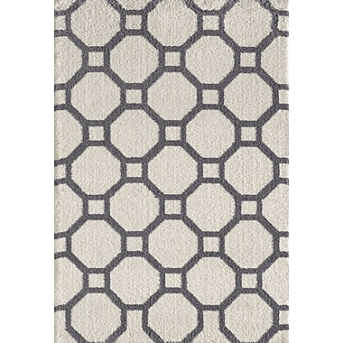 Dynamic Rugs Silky White/Gray Area Rug; 7'10'' x 10'10''