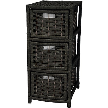Oriental Furniture 3-Drawer Storage Chest; Black