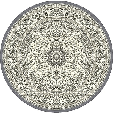 Dynamic Rugs Ancient Garden Gray/Cream Area Rug; Round 5'3''