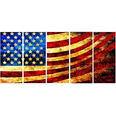 DesignArt God Bless America Flag 5 Piece Graphic Art on Wrapped Canvas Set
