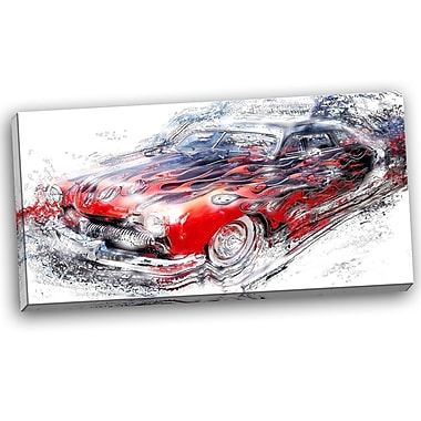 DesignArt American Burn Out Car Graphic Art on Wrapped Canvas