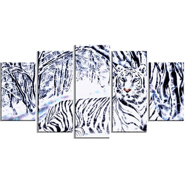 DesignArt White Tiger White Forest 5 Piece Graphic Art on Wrapped Canvas Set
