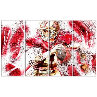 DesignArt Football Go Long 4 Piece Graphic Art on Wrapped Canvas Set