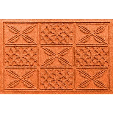 Bungalow Flooring Aqua Shield Patchwork Grid Doormat; Orange