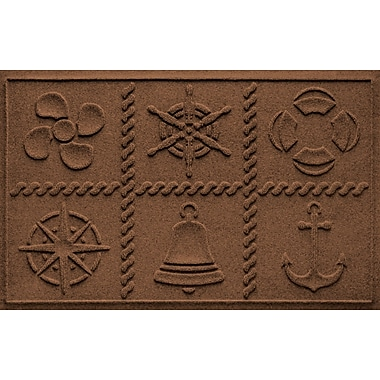 Bungalow Flooring Aqua Shield Nautical Grid Doormat; Dark Brown