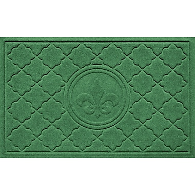 Bungalow Flooring Aqua Shield Bombay Fleur de Lis Doormat; Light Green
