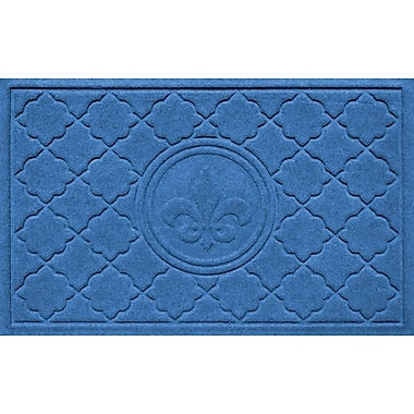 Bungalow Flooring Aqua Shield Bombay Fleur de Lis Doormat; Medium Blue