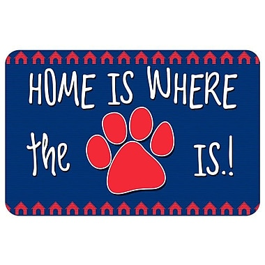 Bungalow Flooring Home Is Where The Paw Is Pet Feeder Doormat; Blue