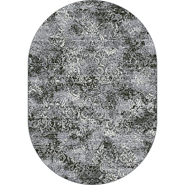Dynamic Rugs Ancient Garden Steel Blue Area Rug; Oval 6'7'' x 9'6''