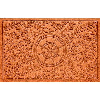 Bungalow Flooring Aqua Shield Boxwood Ship's Wheel Doormat; Orange