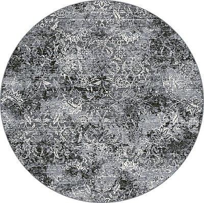 Dynamic Rugs Ancient Garden Steel Blue Area Rug; Round 5'3''