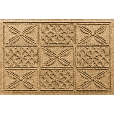 Bungalow Flooring Aqua Shield Patchwork Grid Doormat; Gold