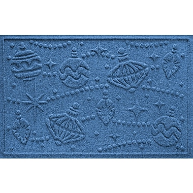 Bungalow Flooring Aqua Shield Ornaments Doormat; Medium Blue