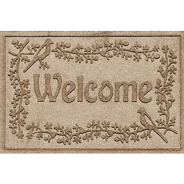 Bungalow Flooring Aqua Shield Bird on a Branch Welcome Doormat; Camel