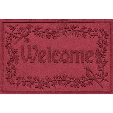 Bungalow Flooring Aqua Shield Bird on a Branch Welcome Doormat; Red/Black