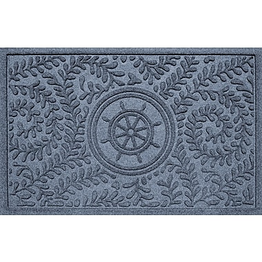 Bungalow Flooring Aqua Shield Boxwood Ship's Wheel Doormat; Bluestone
