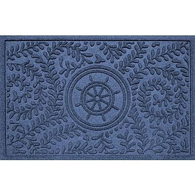 Bungalow Flooring Aqua Shield Boxwood Ship's Wheel Doormat; Navy