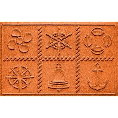Bungalow Flooring Aqua Shield Nautical Grid Doormat; Orange