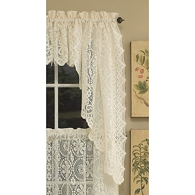Sweet Home Collection Old World Style Floral Heavy Lace Swag Curtain Valance (Set of 2)