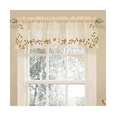 Sweet Home Collection Old World Style Floral Embroidered Semi-Sheer Curtain Valance