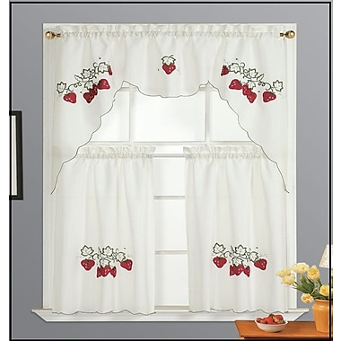 Dainty Home Strawberry Kitchen Valance and Tier Set; White