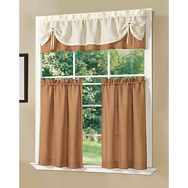 Dainty Home Sunrise Kitchen Valance and Tier Set; Brick