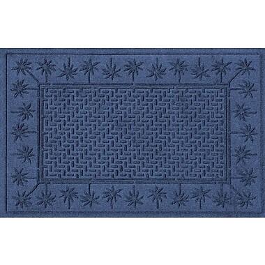 Bungalow Flooring Aqua Shield Island Palms Doormat; Navy