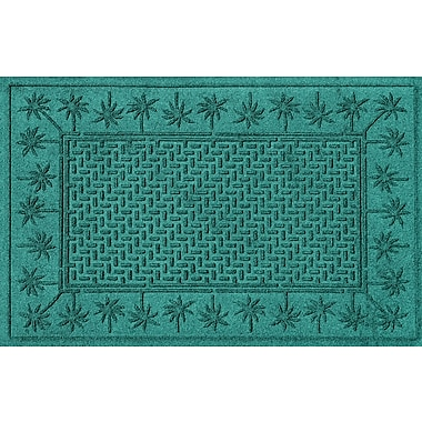 Bungalow Flooring Aqua Shield Island Palms Doormat; Aquamarine