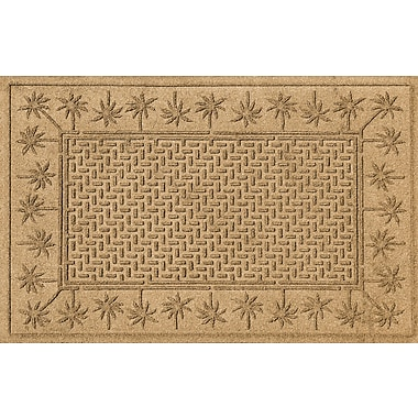 Bungalow Flooring Aqua Shield Island Palms Doormat; Gold