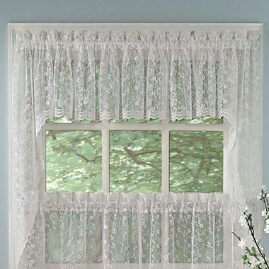 Sweet Home Collection Priscilla Lace Swag Curtain Valance (Set of 2)