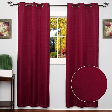 Sweet Home Collection Textured Thermal Blackout Curtain Panels (Set of 2); Burgundy
