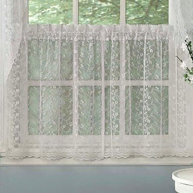 Sweet Home Collection Priscilla Lace Kitchen Tier Curtain (Set of 2); 58'' L x 24'' W