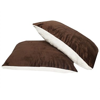 Sweet Home Collection Ultra Soft Reversible Faux Mink and Sherpa Throw Pillow (Set of 2); Brown