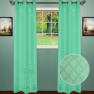 Sweet Home Collection Lattice Thermal Blackout Curtain Panels (Set of 2); Aqua