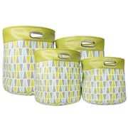 Sweet Home Collection Luxury 4 Piece Geo Modern Trim Storage Bin Set