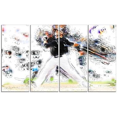 DesignArt Baseball Home Run 4 Piece Graphic Art on Wrapped Canvas Set
