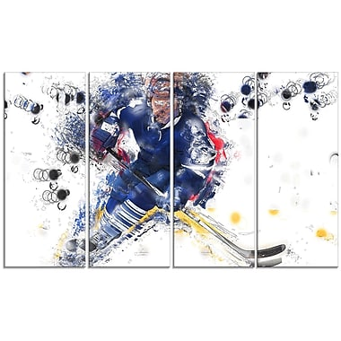 DesignArt Hockey Penalty Shot 4 Piece Graphic Art on Wrapped Canvas Set