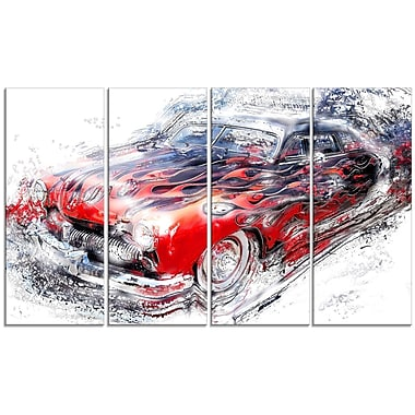 DesignArt American Burn Out Car 4 Piece Graphic Art on Wrapped Canvas Set