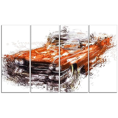 DesignArt Burnt Classic Car 4 Piece Graphic Art on Wrapped Canvas Set