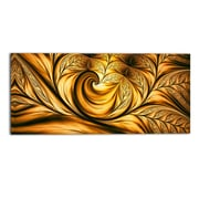 DesignArt Golden Dream Abstract Graphic Art on Wrapped Canvas