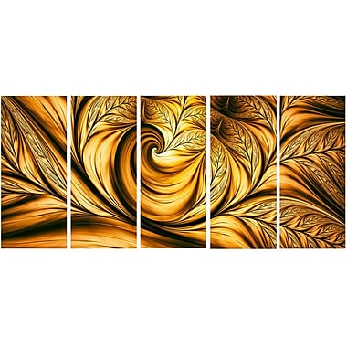 DesignArt Golden Dream Abstract 5 Piece Graphic Art on Wrapped Canvas Set