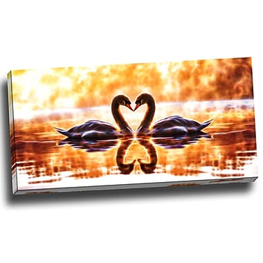 DesignArt Swooning Swans - Romantic Swan Graphic Art on Wrapped Canvas