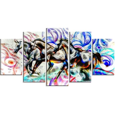 DesignArt Graffiti Horses 5 Piece Graphic Art on Wrapped Canvas Set