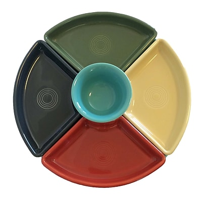 Fiesta 5 Piece Divided Serving Dish Set; Paprika/Ivory/Sage/Slate/Turquoise