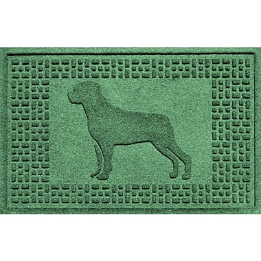 Bungalow Flooring Aqua Shield Rottweiler Doormat; Light Green