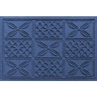 Bungalow Flooring Aqua Shield Patchwork Grid Doormat; Navy