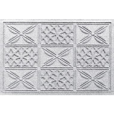 Bungalow Flooring Aqua Shield Patchwork Grid Doormat; White