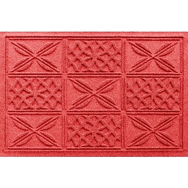 Bungalow Flooring Aqua Shield Patchwork Grid Doormat; Solid Red