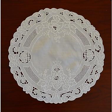 Fino Lino Florentine Embroidery Round Doily 4 Piece Set; 12''